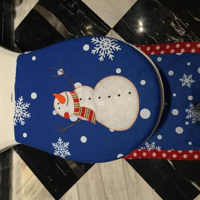 3Pcs/set Christmas Santa Toilet Seat Cover Anti-Slip Bathroom Mat Toliet Rug Christmas Decoration for Home New Year Mat 26