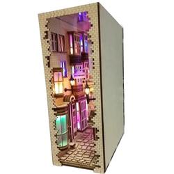 DIY KIY Diagon Alley libro de madera Nook Art sujetalibros removible hecho a mano libro decoración castillo edificio librería regalo de cumpleaños