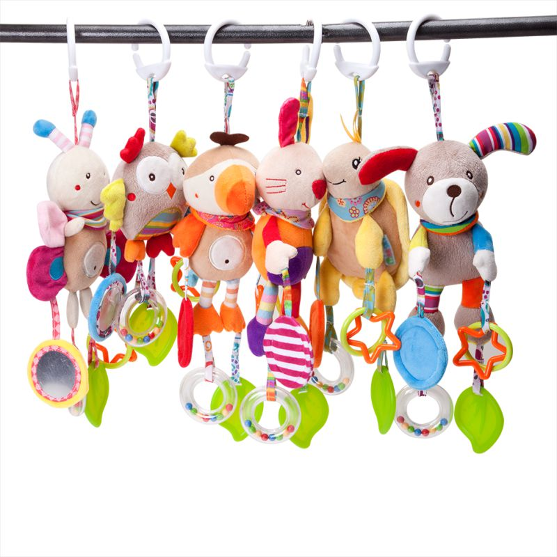 Newborn Baby Plush Stroller Toys Baby Rattles Mobiles Cartoon Animal Hanging Bell Educational Music Baby Toys3