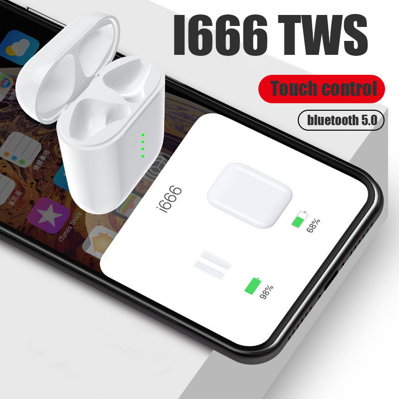 i666 <font><b>TWS</b></font> Pop Up Headphone Wireless Bluetooth Earphones Noise Cancelling For Andriod Xiaomi PK i12 i10 i30 i20 <font><b>i200</b></font> <font><b>tws</b></font> original image