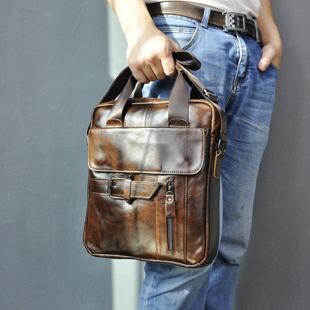 Quality Original Leather Male Casual Shoulder Messenger Bag Cowhide Fashion Cross-body Bag 9