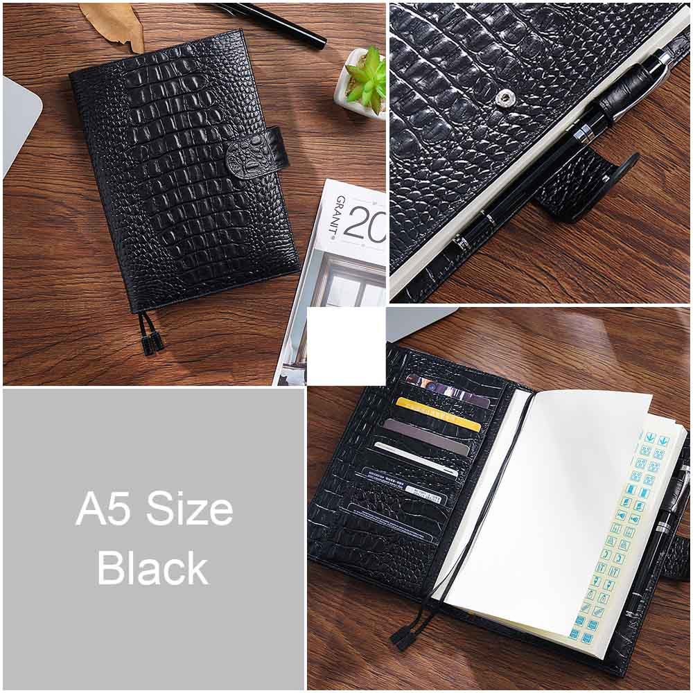 Image 3 - New Arrivals Genuine Leather A6 notebook Diary planner journal Stationery small notepad Agenda Organizer Big Pocket-in Notebooks from Office & School Supplies