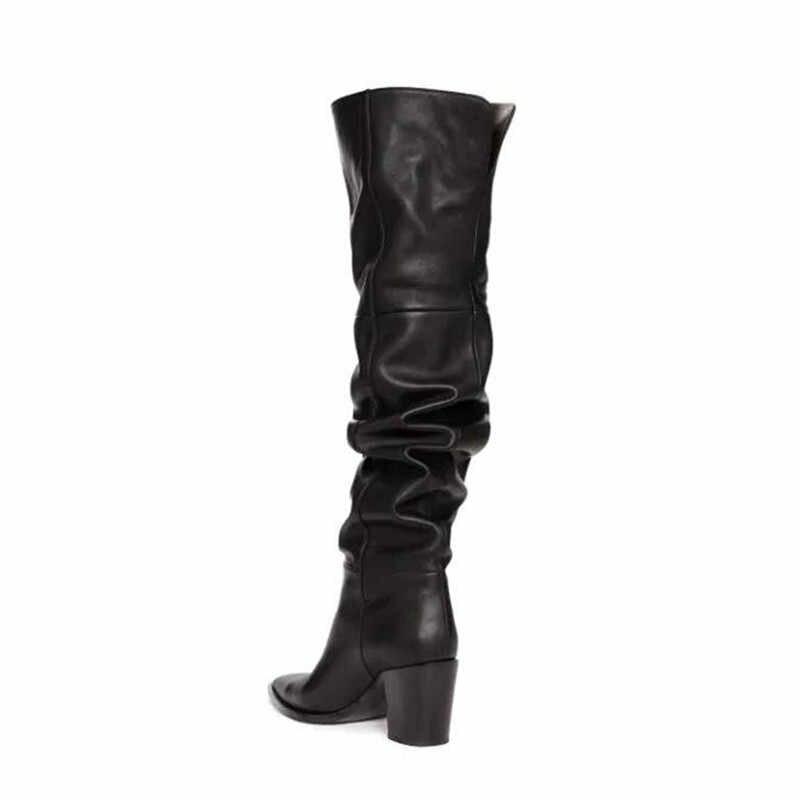 Prova Perfetto siyah diz üzerinde çizmeler sivri burun tıknaz topuklu ayakkabı fermuar yumuşak diz yüksek çizmeler kadın Botines Mujer 2019