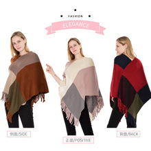 A new autumn/winter faux cashmere fringed pullover cape for a warm knitted shawl in large check and color