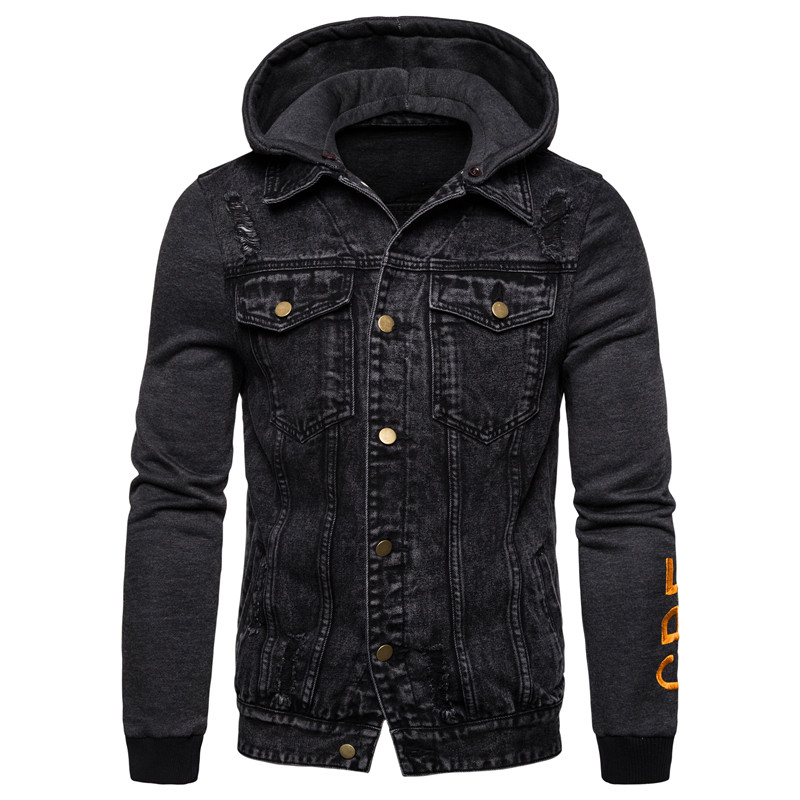 2019 New Autumn Removable Hoody Men Casual Style Mens Hoodied Jeans Jackets Outwear Men Clothing Cotton Denim Jacket Men