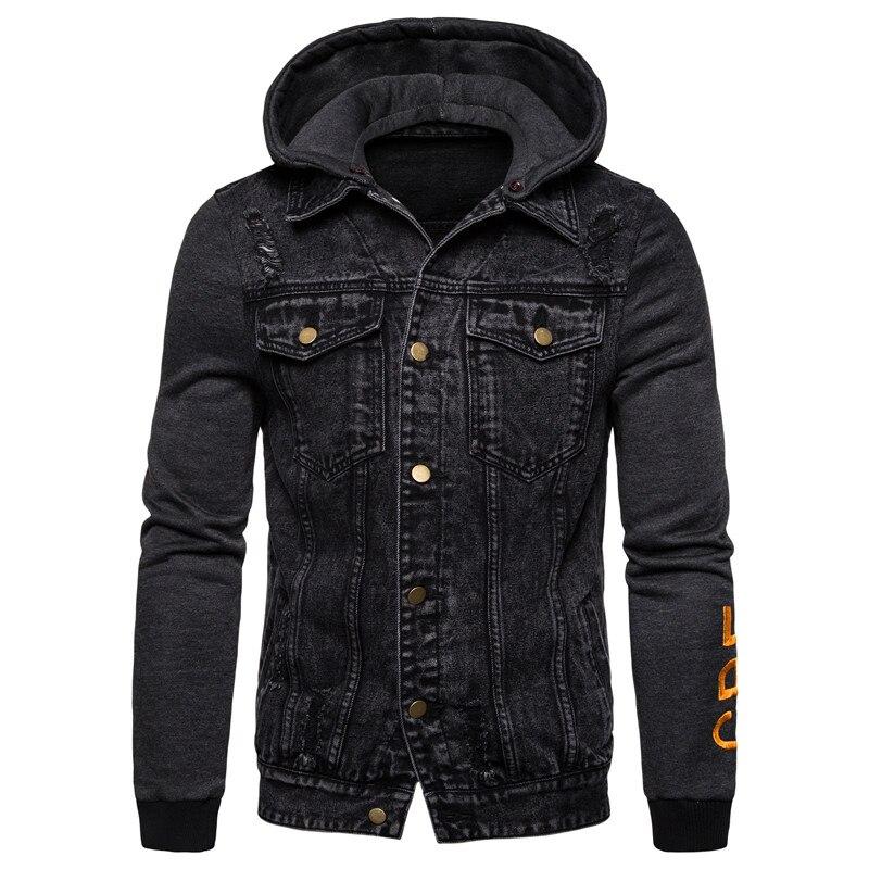 Новинка 2019, Осенний съемный капюшон, мужская повседневная Стильная джинсовая куртка с капюшоном, верхняя одежда, мужская одежда, хлопковая джинсовая куртка мужская,пальто мужское