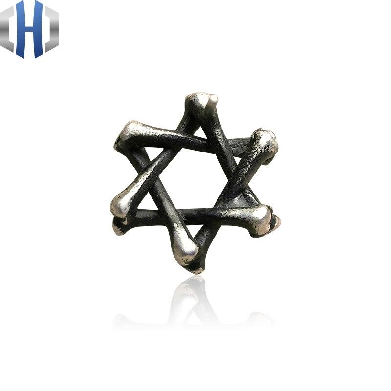 Boucles d'oreilles humérales faites à la main en argent Sterling 925 avec étoile à Six branches pour hommes et femmes - 5
