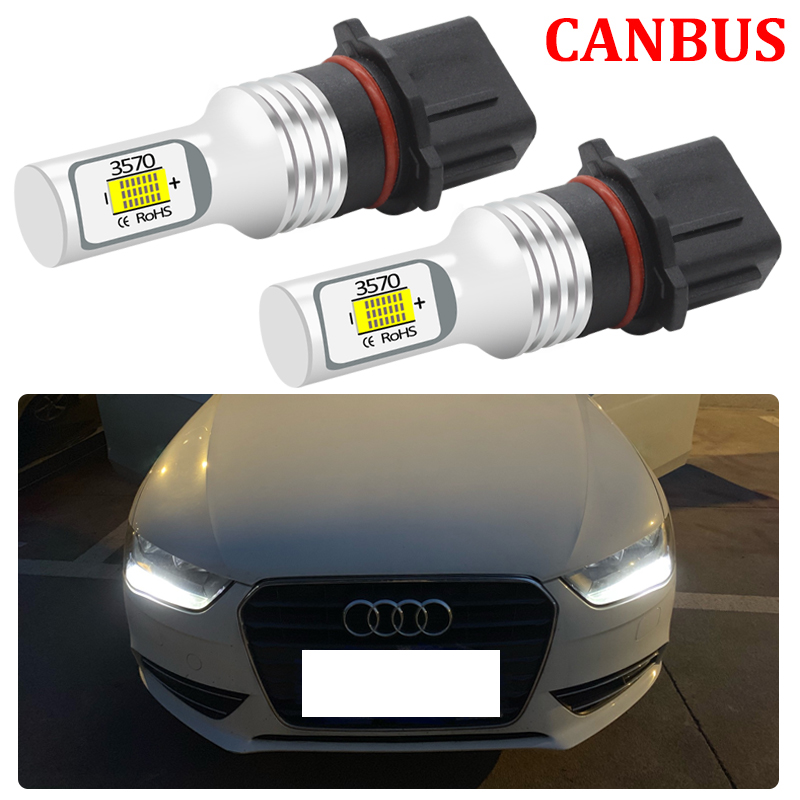 2Pcs For <font><b>Audi</b></font> B8 <font><b>A4</b></font> S4 Q5 2008-2012 LED Driving DRL Daytime Running Light Lamp No Error Canbus P13W SH24W Car LED Bulbs image