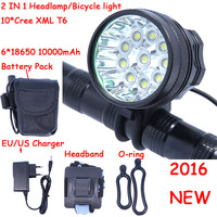 18000 Lumens 10 X XM L T6 LED Front Head Bike Bicycle Cycling Lamp + 10000mAh 6*18650 Battery Pack + Charger