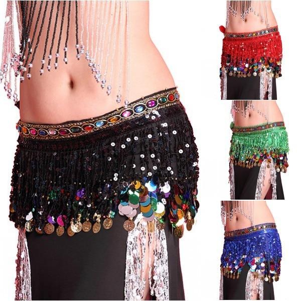Womens Chiffon Belly Dance Hip Scarf Coin Sequin Belt Skirt Tassel Hip Wrap Dancing Constume