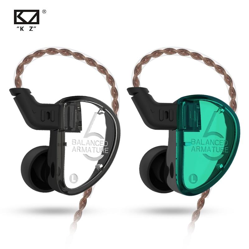 Наушники-вкладыши KZ AS06 для монитора, сбалансированные арматурные Hi-Fi наушники-вкладыши с басами, Спортивная гарнитура с шумоподавлением