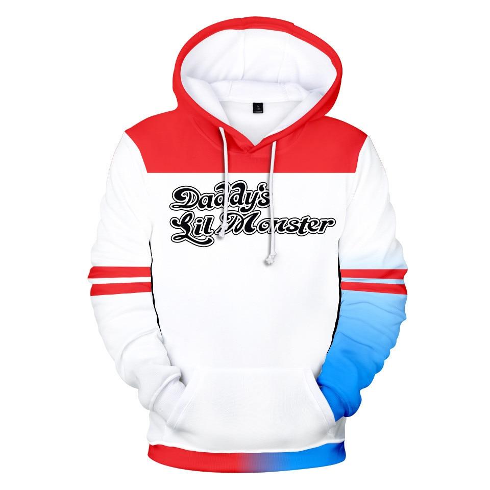 3D Movie Birds Of Prey Harley Quinn 3D Hoodies Long Sleeve Cosplay Hoodie Sweatshirt Casual Streetwear Jacket Coat Brand Clothes