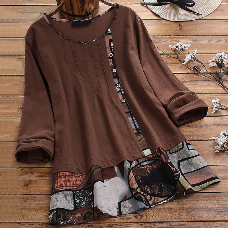 Patchwork Plus Size Women Tunic 2020 Spring Casual O-Neck Long Sleeve Button Blouse Shirt Fashion Print Womens Blouses And Tops
