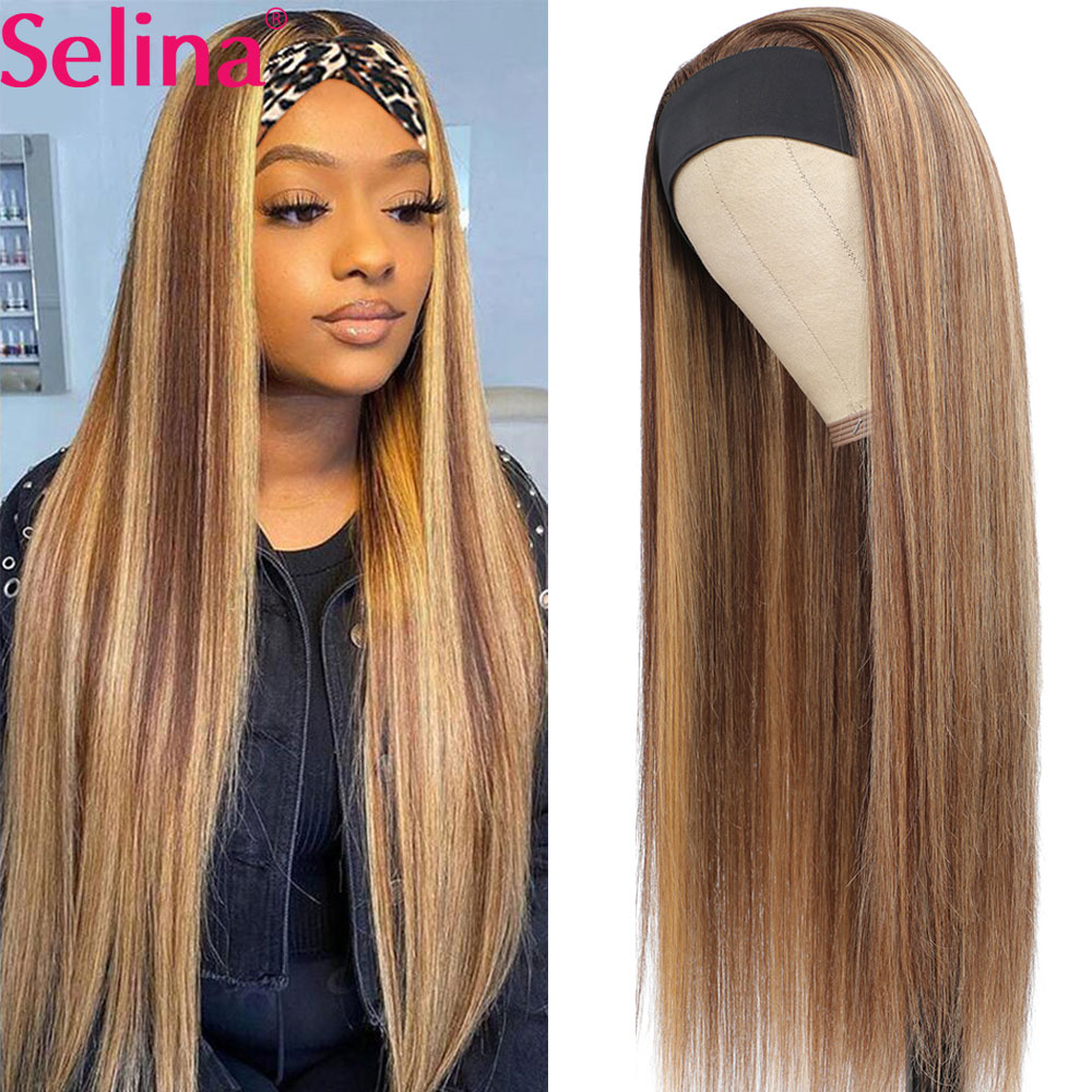 Синтетический парик с головной повязкой Выделите парик P27/33 смешанные эффектом деграде (переход от темного к Мёд прямые парики ежедневные в...