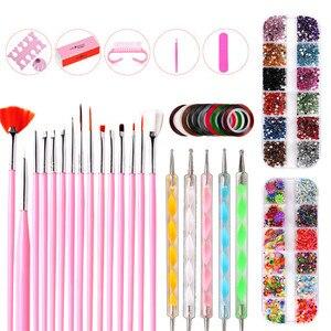 37Pcs Nail Art Brushes Set Striping Tape Stickers Rhinestones Decoration Box Dotting Manicure Set For Nail Foils Design Tool Kit