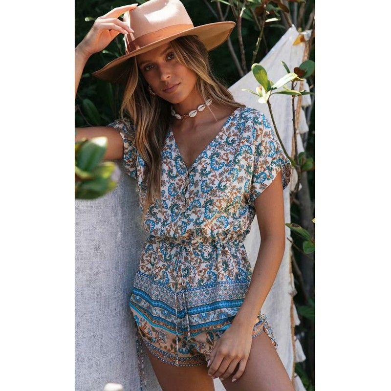 TEELYNN Rayon Floral Print Jumpsuit Summer Romper Beach 2020 Short Sleeve Bohemian Clothing Casual Women Playsuit Rompers