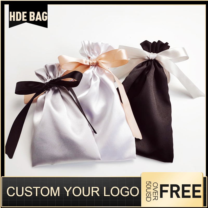 Custom Satin Extensions Hair Bags Ribbon Drawstring Luxry Goods Silk Packaging Pouches Makeup Case Shoes Cloth Wigs Storage Bag