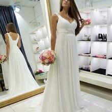 Beach Wedding Dresses Sweetheart Bohemian Chiffon Beaded Bride Dress Custom Made Bridal Gowns Vestidos de Novia
