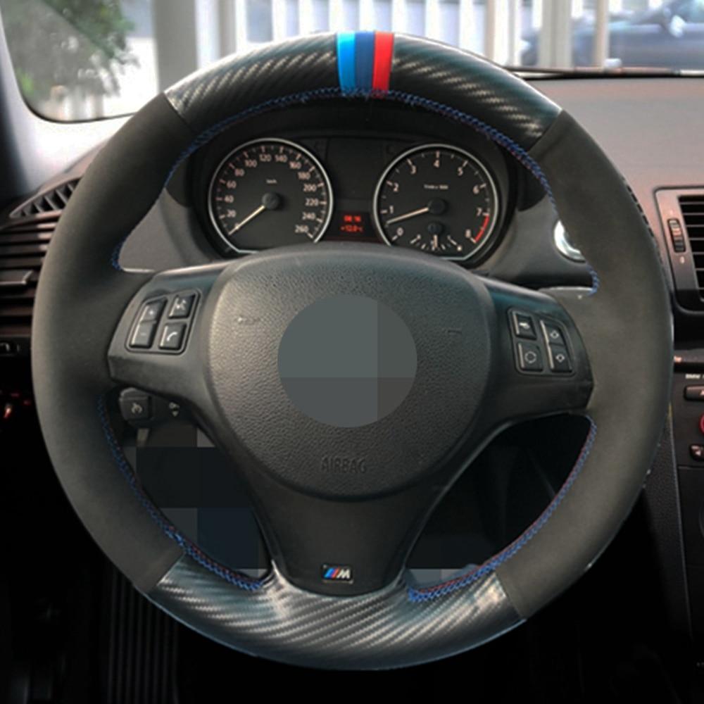 Car Steering Wheel Cover Hand-stitched Black Suede Black Carbon Fiber For BMW M Sport M3 E90 E91 E92 E93 E87 E81 E82 E88