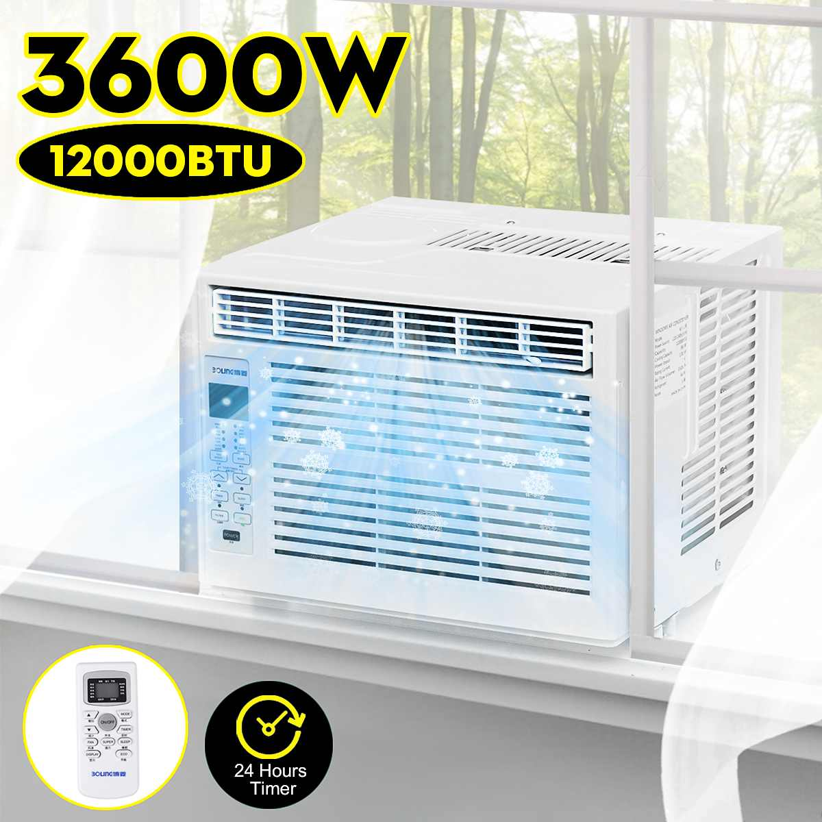 3600W Desktop Air Conditioner AC220-240V Cold Use With Remote Control LED Control Panel 12000BTU24-hour Timer Pet Air Conditione