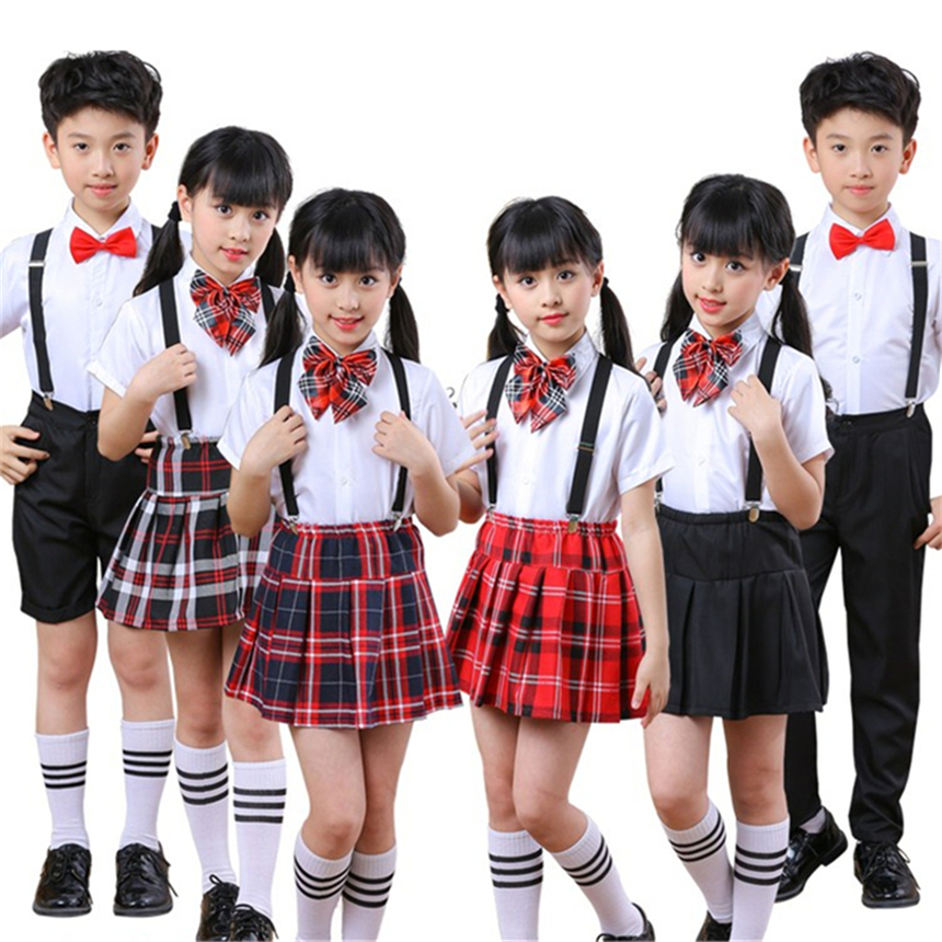 10Color Children School Uniform For Girls Dress Student Class Clothes Matching Outfits Boys Wedding Choir Party Costumes Set