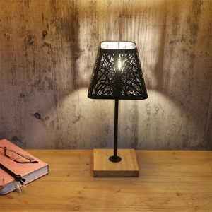 Image 5 - OYGROUP Wrought Iron Hollow Lamp Shade + Wood Base, E14 Table Lamp for Bedside Study Room Living Room No Bulb