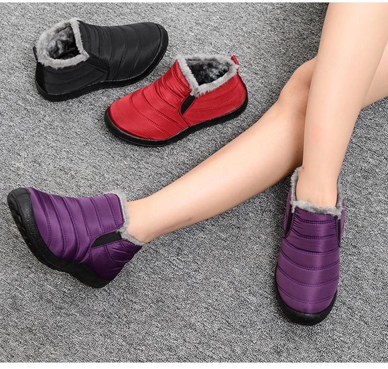 Snow Boots Women Shoes Warm Plush Fur Ankle Boots Winter Female Slip On Flat Casual Shoes Waterproof Ultralight Footwear 16