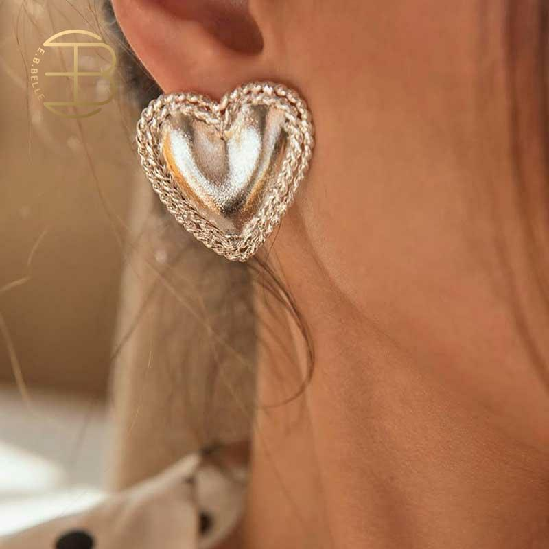 2020 New Jewelry Gold Silver Color Metal Love Heart Stud Earrings For Women Lady's Statement Earring Party Jewelry