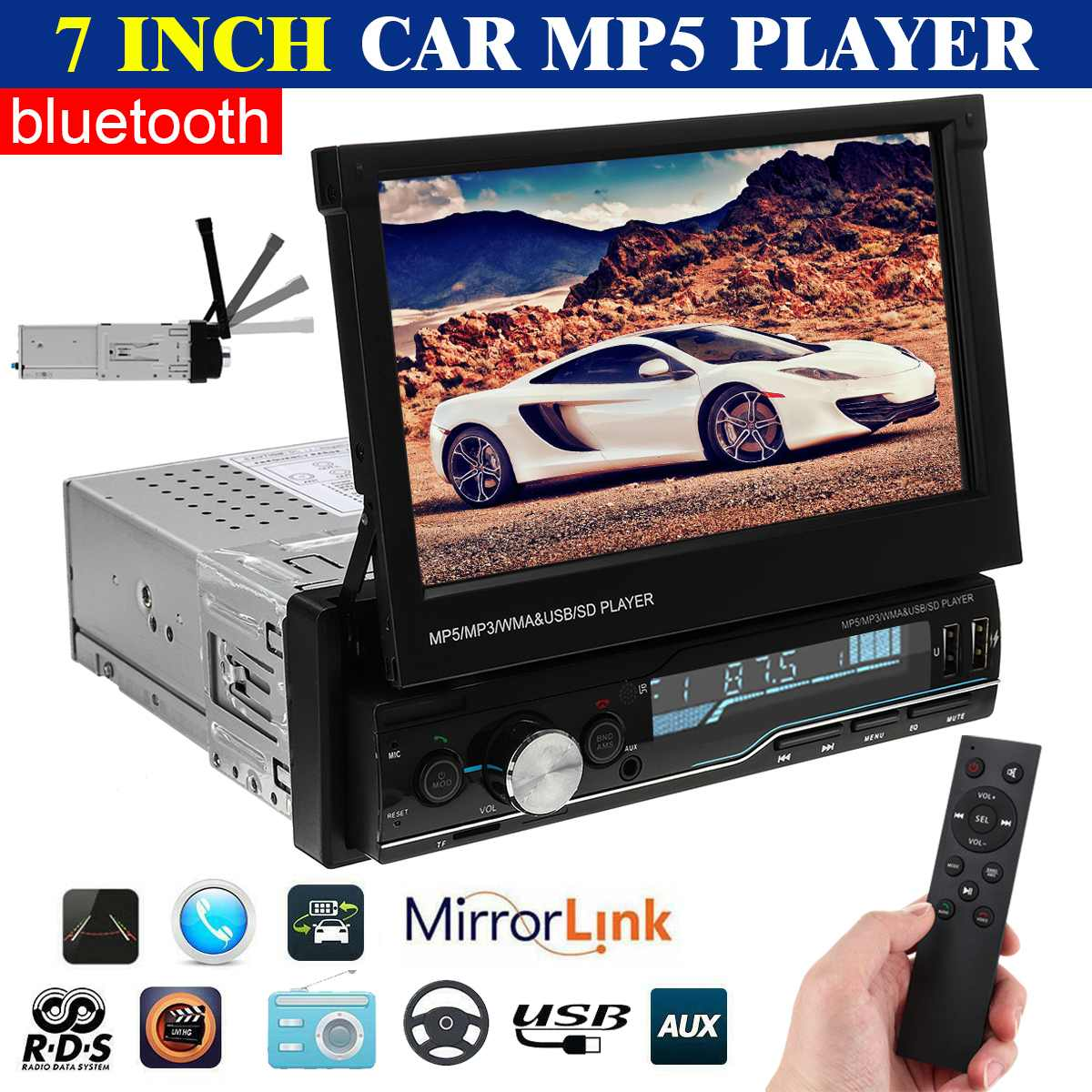 7 1 Din Car Radio Stereo MP5 Player Multimedia Player Bluetooth FM Touch Screen Retractable USB AUX