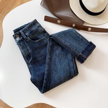 Women Jeans Leg-Pants Tight Outer-Wear High-Waisted Fleece Thickened Mooirue Fall/winter