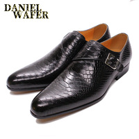 Men Leather Shoes Snake Skin Prints Men Formal Shoes Black Coffee Casual Dress Slip on Pointed Toe Shoes Mens Loafers Leather