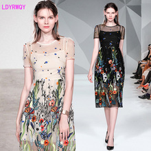2019 new hot fashion cool thin slim self-cultivation pure cute heavy mesh gauze embroidery dress l