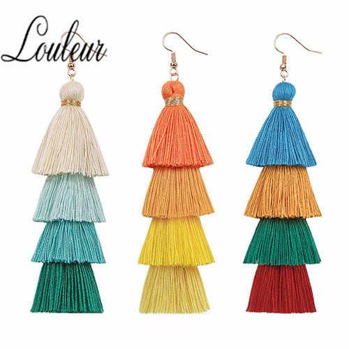 4 Layered Bohemian Fringed Cheap Statement Tassel Earrings for Women Long Drop Dangle Earrings 2019 Boho Indian Jewelry