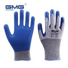 GMG-guantes resistentes a la abrasión, guantes de seguridad para el Medio Ambiente, mecánicos, anticortes, Nivel 5, Palma de goma natural, verde, 3 pares