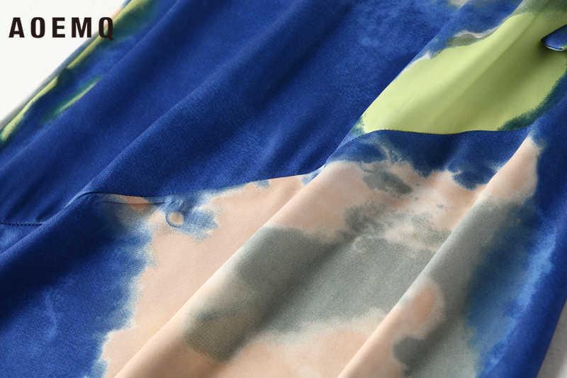 AOEMQ 패션 스커트 여름 불규칙한 페인트 렌더링 그리기 스커트 공주 달콤한 해변 인어 스타일 스커트 여성 의류