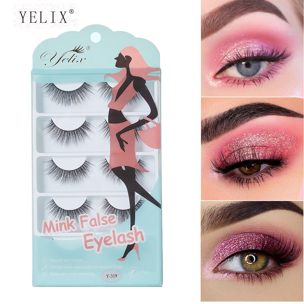 Yelix 5 Pairs False Eyelashes Natural Makeup 3d Mink Lashes Long Wispy /Natural/Fluffy Reusable Eye Lashes Faux Cils