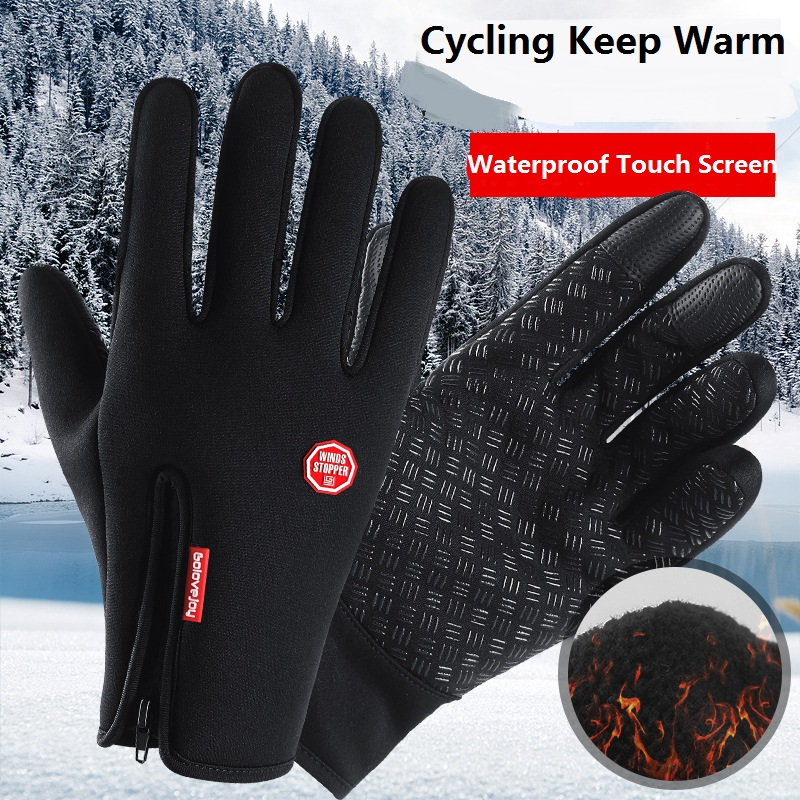 Windstopers Handschuhe Anti Slip Winddicht Thermische Warme touchscreen Handschuh Atmungsaktive Tactico <font><b>Winter</b></font> Männer Frauen Zipper Verdicken Handschuhe image