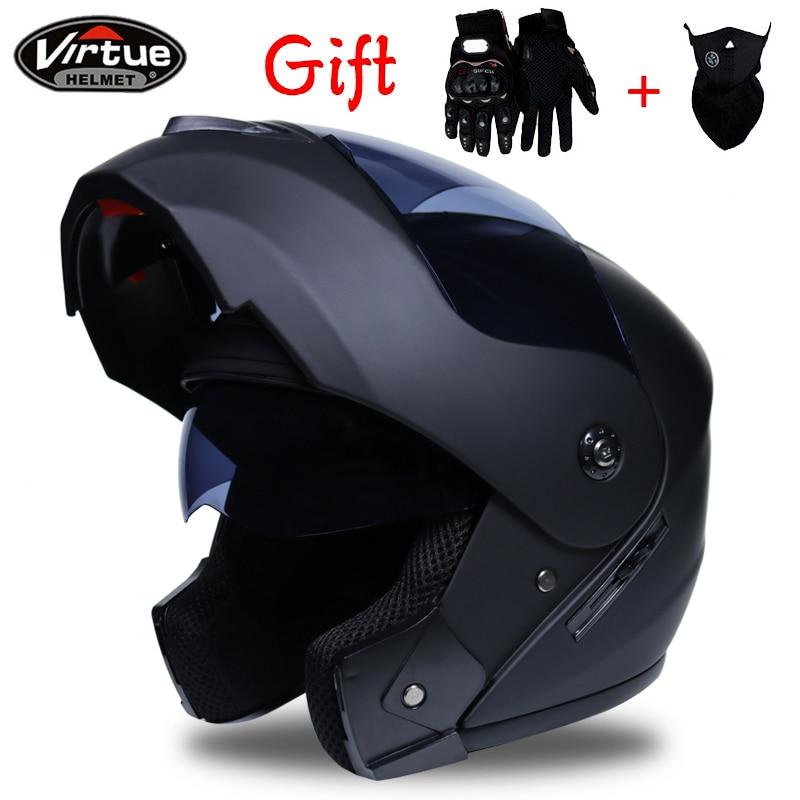 2019 Professional Racing helmet Modular Dual lens Motorcycle Helmet Flip Up Helmet Safe helmets Casco capacete casque moto S-XL