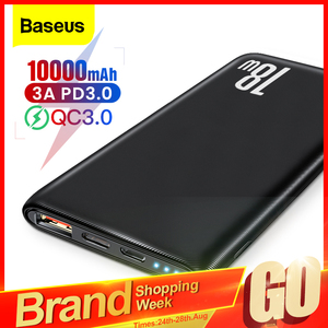 Baseus Quick Charge 3,0 10000 мАч Power Bank USB Type C PD 10000 Powerbank Портативное Внешнее зарядное устройство для Xiaomi Mi iPhone