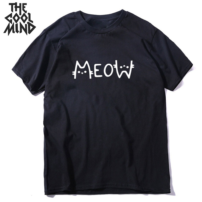 COOLMIND 100% Cotton Short Sleeve Cool Cat Print Men T Shirt Casual Loose Men Tshirt O-neck T-shirt Men Tee Shirts Tops