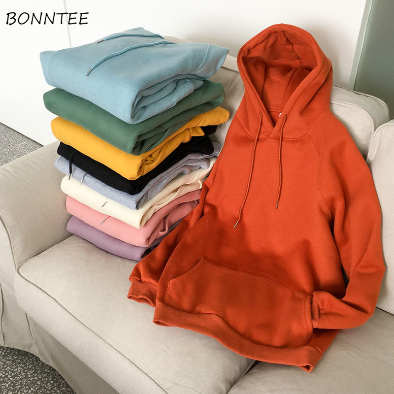 Hoodies Women Solid Hooded Korean Style Velvet Simple Elegant Harajuku Pockets Womens Candy Color Students Pullover Leisure Chic