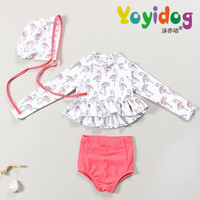 18 New Style Hot Sales Two-piece Swimsuits Send Swimming Cap Long Sleeve Sun-resistant Flounced Triangular Hipster Girls KID'S S