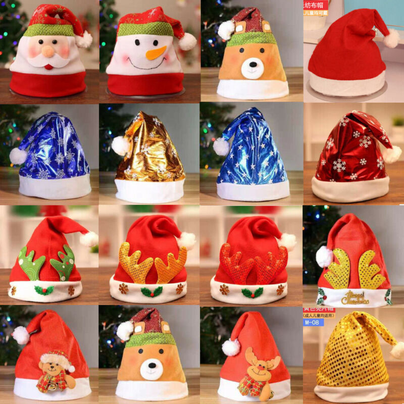 CHRISTMAS SANTA HATS FANCY DRESS XMAS PARTY SANTA CLAUS WHOLESALE BULK BUY