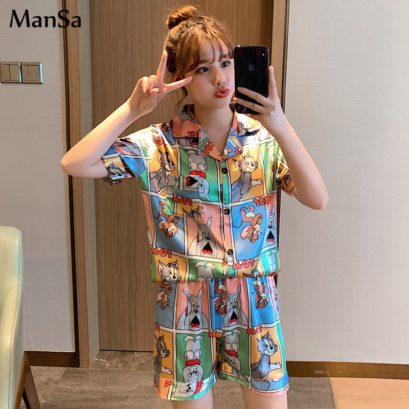 Summer Short Sleeve Silk Pajamas Set Cute Cartoon Print 2Pcs Set Women Sleepwear Sexy Homewear For Women Pyjamas Set Short Pants