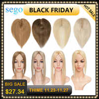 SEGO, 6-22 pulgadas, 6x9cm, Base de seda recta, pelo superior, peluca de pelo humano, tupé para mujeres, Color puro, sin sistema de pelo Remy WomenToupee