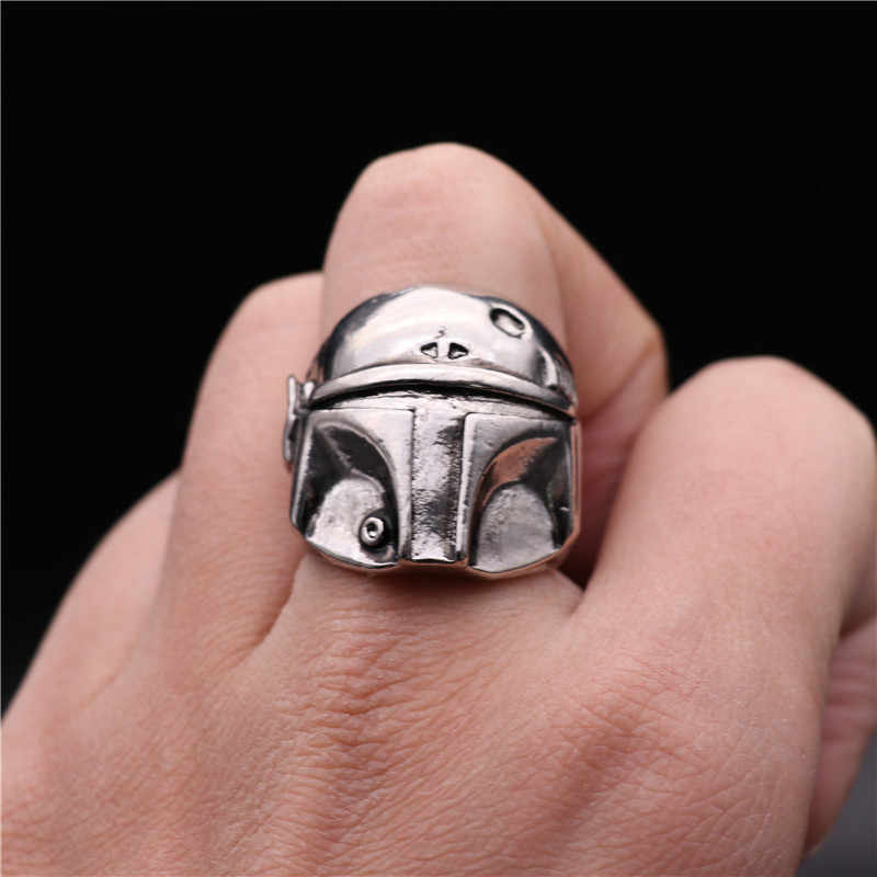 Film star Wars Il Mandalorian Anello Cosplay Costumi Accessori Distintivo Cavaliere Nero del Metallo Punk Dell'anello Del Casco