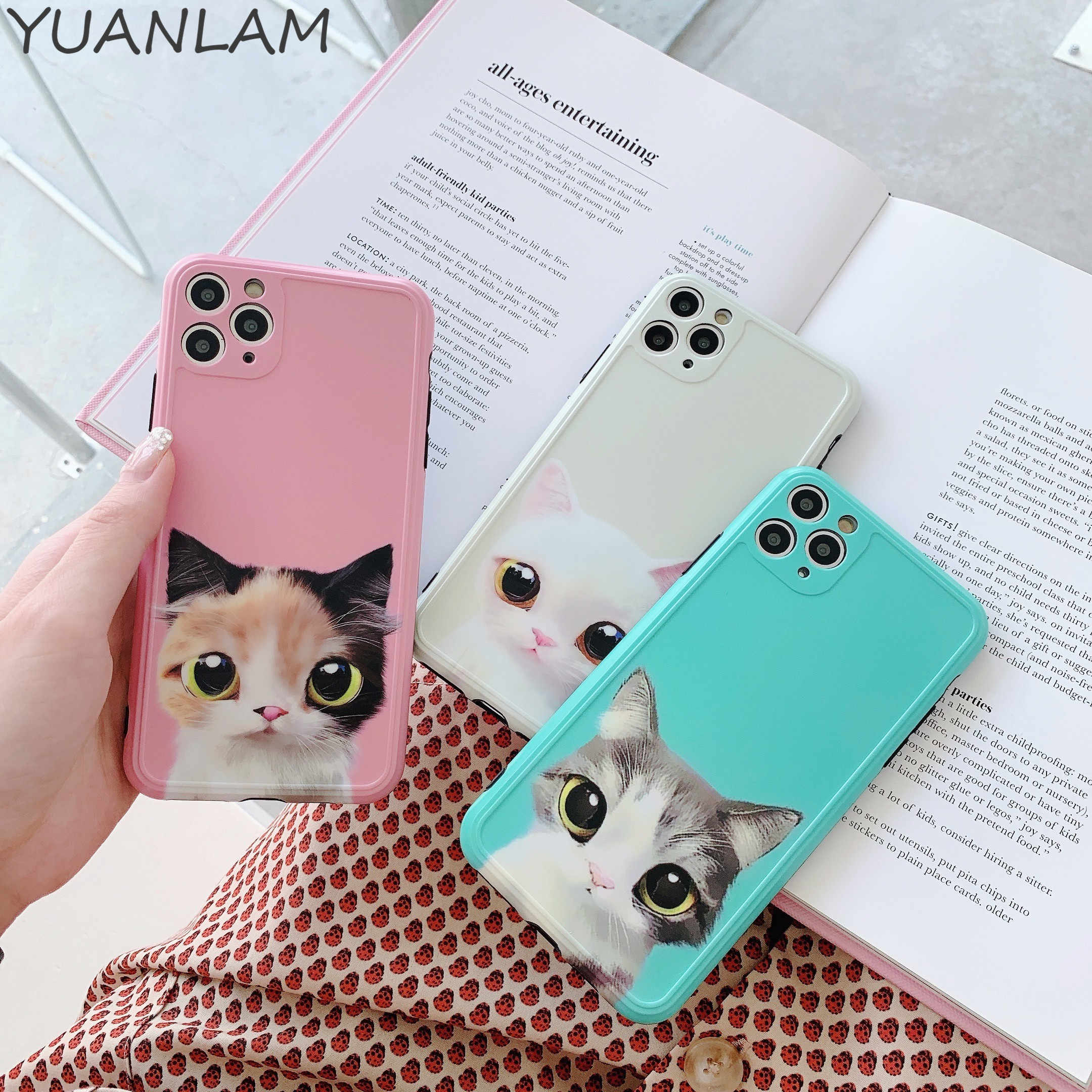 Phone Case For iPhone 11 pro 7 8 Plus X XR XS 11 Pro Max Cartoon Cat 3D Animals pattern Soft Silicone For iPhone X Cover coque
