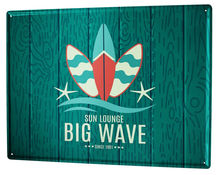 Жестяной ретро знак большой волны серфинг домашний декор кофе
