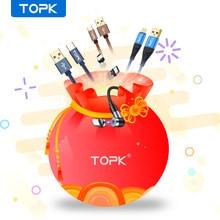 Topk 0.5m 1m afastamento micro usb tipo c cabo de carregamento de carga rápida cabo para iphone 12 11 pro 7 8 max xiaomi cabo do telefone móvel