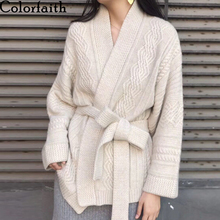Women's Sweaters Cardigans Tops Spring Oversized Knitted Colorfaith Korean-Style Winter